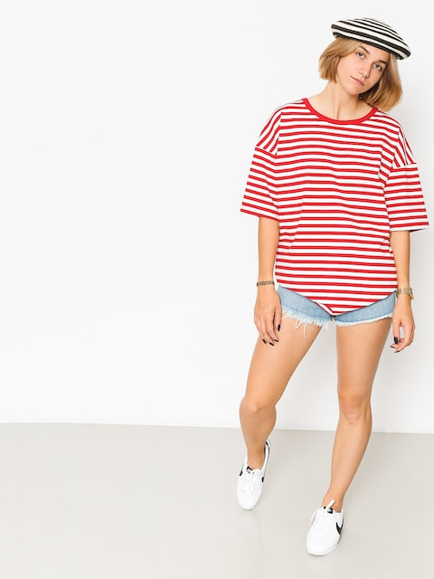 The Hive T-shirt Oversized Stripes Wmn (red/white)