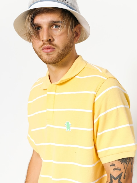 Grizzly Griptape Polo t-shirt Fairway Striped (yellow)