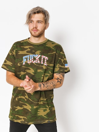 HUF T-Shirt Fuck It Camo Flag (woodland camo)