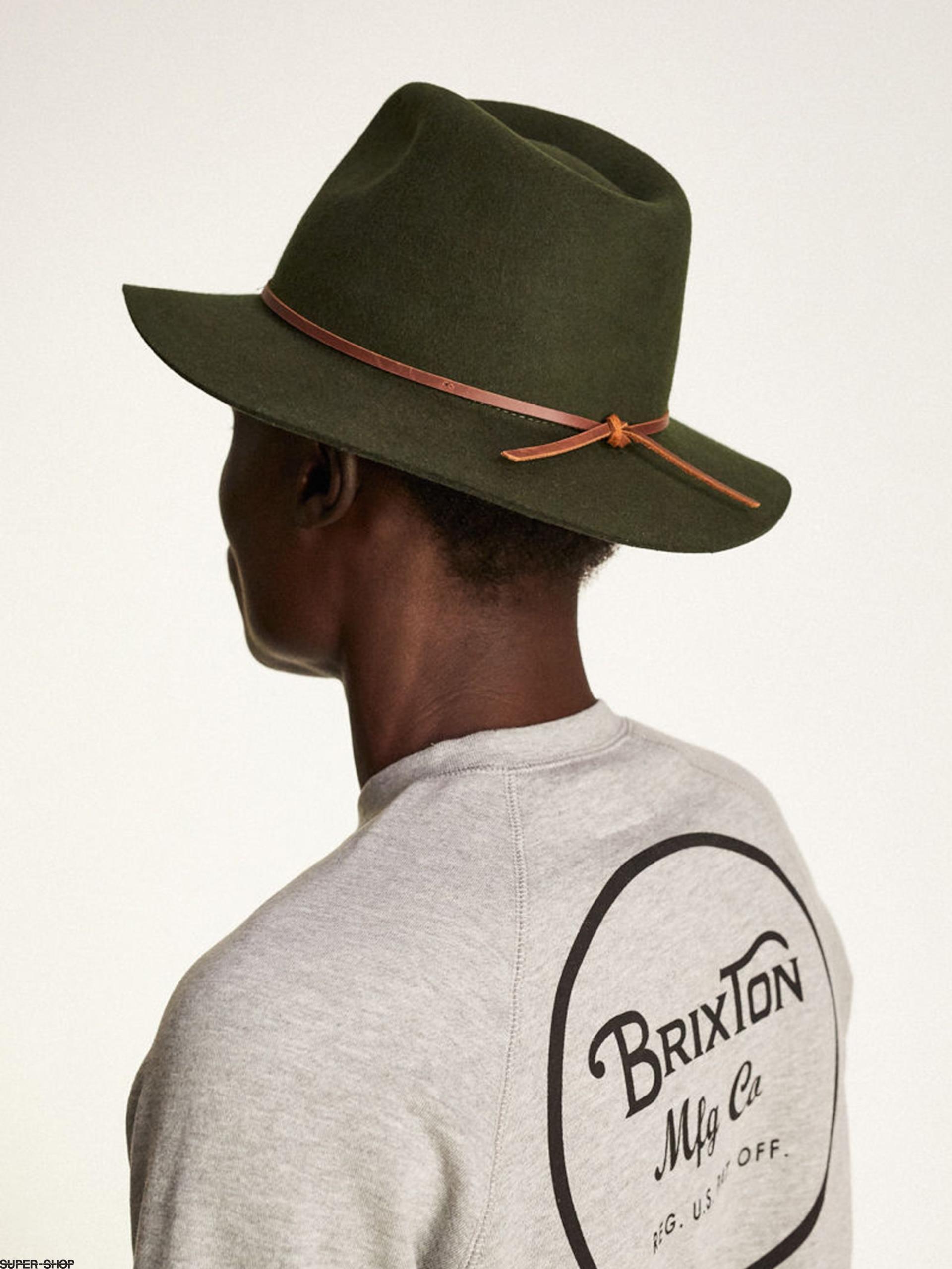 0fae93ec990fe ... sale brixton hat wesley fedora moss 77a65 fcce7