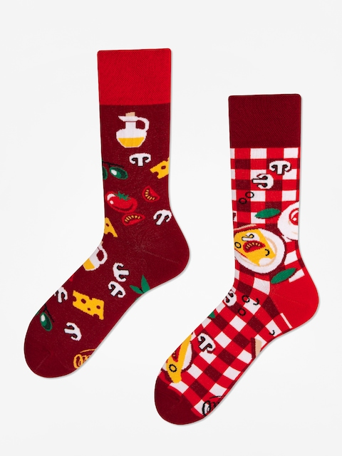 Many Mornings Socken Pizza Italiana (burgundy)
