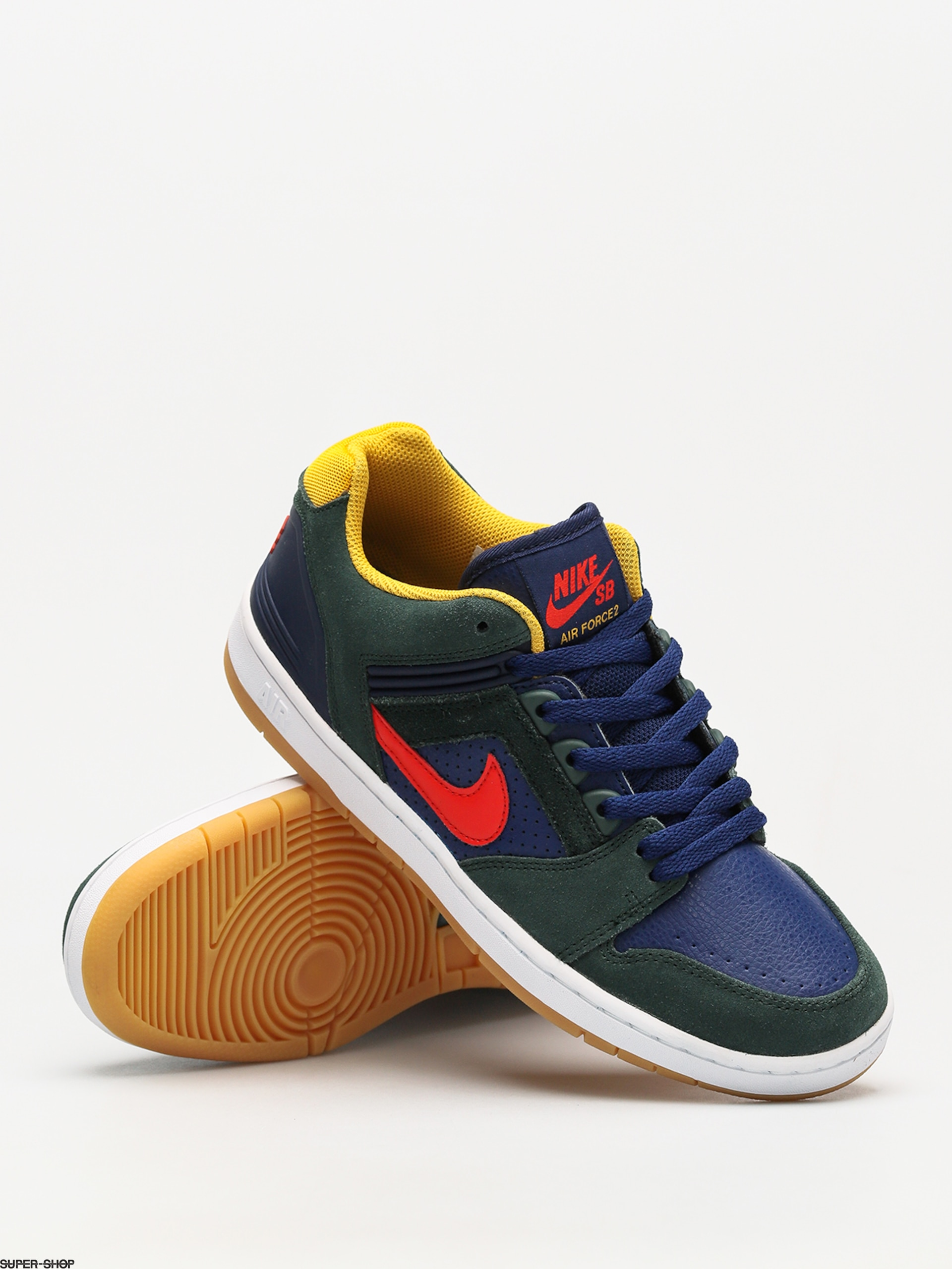 5b8ed39ea9fe Nike SB Shoes Sb Air Force II Low (midnight green habanero red blue void)