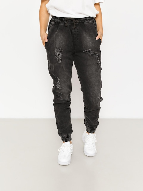 Diamante Wear Pants Rm Jeans Jogger Wmn (ripped black jeans)