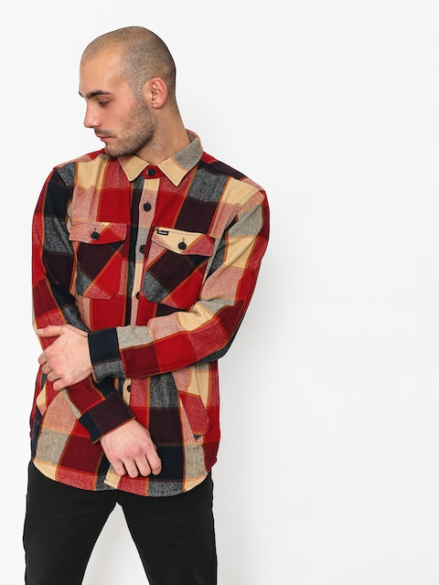 Brixton Durham Ls Shirt (red/navy)