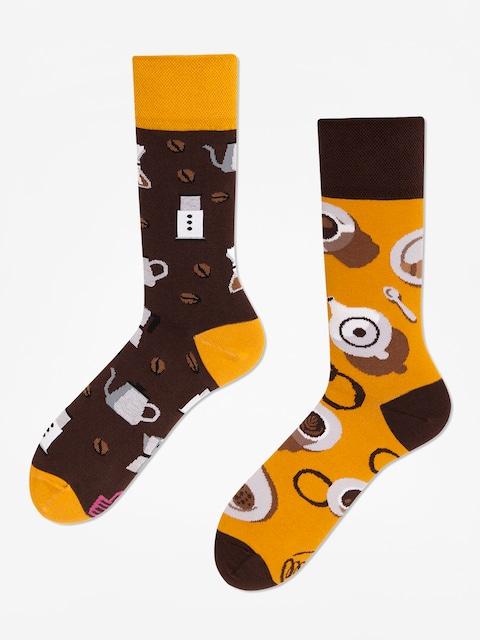 Many Mornings Coffee Lover Socks (brown/mustard)