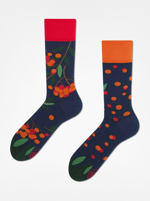 Many Mornings Socks Rowan Berries (navy/red/orange)